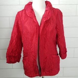 Chico's Size 2 Open Front Crinkle Jacket Red Large